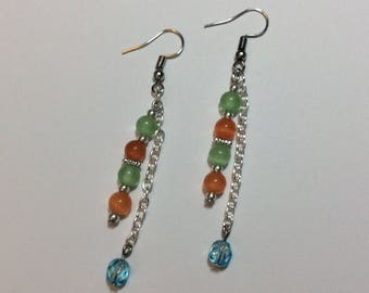 """Earrings """"Turquoise faceted beads and his cat's eyes"""""""