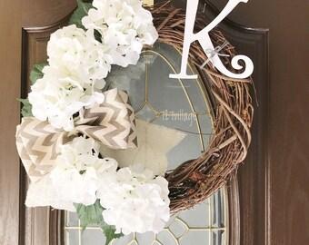grapevine wreath, hydrangea wreath, monogram wreath, wooden letter wreath, spring wreath