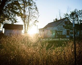 Farm Scene Photograph, Barn and Root Cellar at Sunrise, Rustic Home Decor