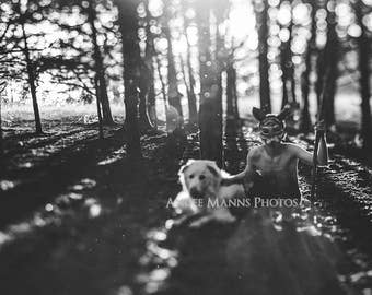 Surreal Portrait, Boy in Wolf Mask, Dog and Boy, Black and White Print