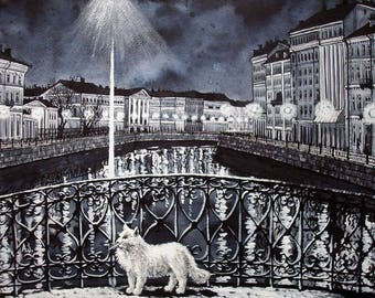 "Night. Art Original Ink Painting by Zuev Aleksei, 16x20"" painting, ink landscape, cat art, Blue Black Indigo"