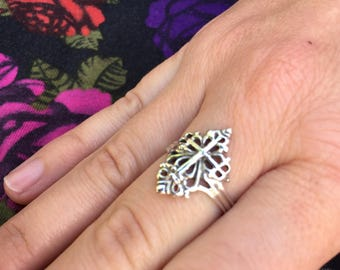 Sterling Silver filigree cross ring,both delicate and powerful.
