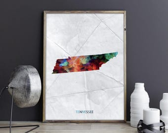 Tennessee Art Tennessee Wall Art Tennessee Decor Tennessee Photo Tennessee Print Tennessee Poster Tennessee State Map United States Map Art