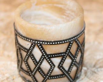 Charming Alabaster Round Candle Holder