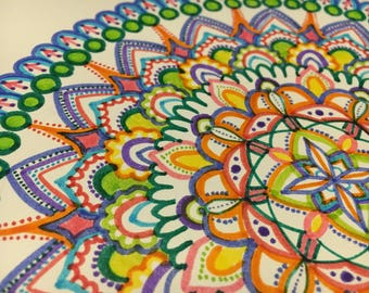 Rainbow coloured mandala