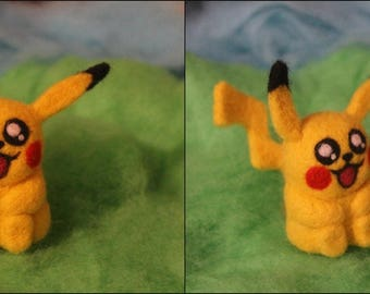 Pikachu the pokemon - Felted pokemon - Handmade toy - Felted Pikachu - Felted Pichu - Felted toy - Felted sculpture - Needle felting