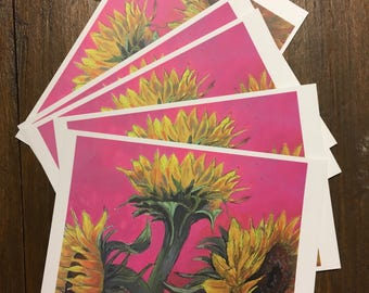 Postcards of Sunflower Painting by Putney/Southfields Artist Alice Morgan - Pack of 10