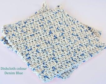 Crochet Dishcloths Denim Blue