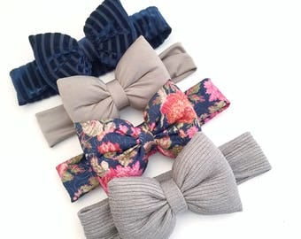 Navy, Floral and neutral pillow bows