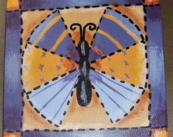 Hand Painted OOAK Wood Magnet Quilt Butterfly