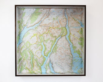 Loch Lomond map box frame -framed map wall decor wall art gift shelf keys holder