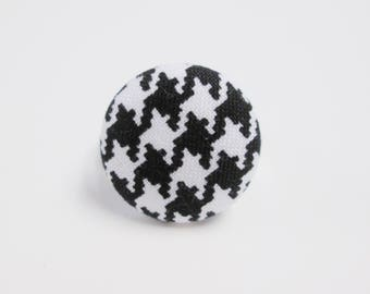 Adjustable black houndstooth button ring black white fabric covered button ring gift for her