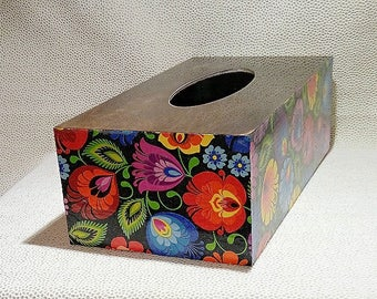 Tissue box, wooden, folk; Kleenex box holder