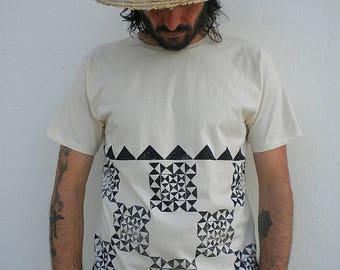 Bio cotton stamped black pattern tshirt man