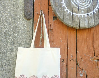 Organic cotton Handprinted pattern totebag