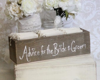 Rustic Guest Book Box Advice For The Bride and Groom Wood Hearts (item P10097)