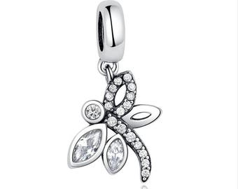 Silver Dragonfly Charm - Sterling Silver Dragonfly Dangle Charm - Fits all Charm Bracelets