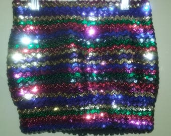 Vintage Sequin Rainbow Multi-Color Halter Top Petite Medium