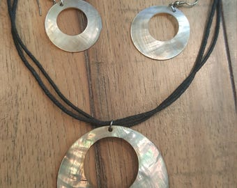 Abalone shell necklace and earring set
