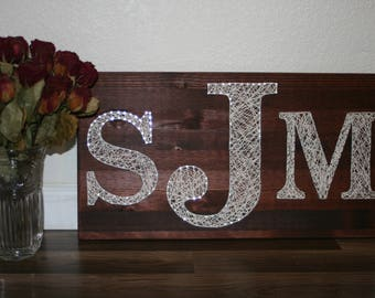Custom Personalized Monogram String Art | Wedding Gift | Wedding Decor | Handmade | Made to Order | Wood Sign