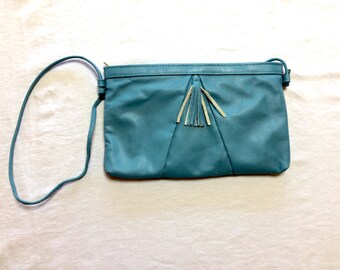 Blue Vintage Leather Pocketbook Purse with Tassel 1960s