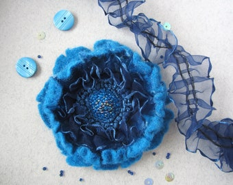 Blue Embroidered Felted Flower Statement Brooch Ribbon Textile Pin Scabiosa Adornment Beaded Floral Belt Decoration Navy Blue Felt Poppy