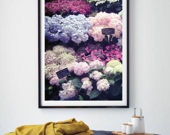 Flower Market Poster, French Style Art Print, Floral Photography Poster, French Market Print, Wall Art, Gallery Wall Art, Flower Photograph