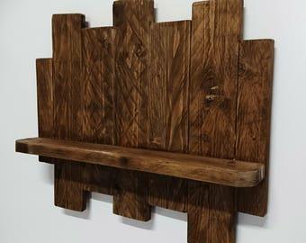 Shelf wood rustic, vintage interior decoration.
