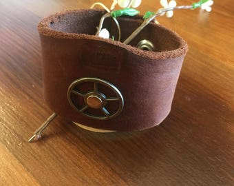 Leather Sprocket Cuff