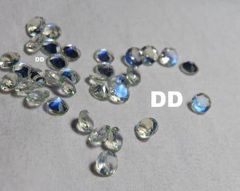 Top Quality moonstone faceted round faceted rainbow moonstone round blue flash faceted moonstone loose gemstones-Size-4mm
