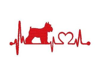 Schnauzer heart beat Embroidery file
