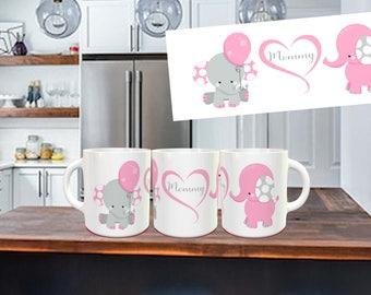 Pink Elephant Mommy Coffee Mug, mommy gift, not vinyl, dishwasher safe coffee mug, gift