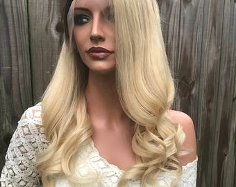 """Light Ash Blond Full Lace Wig - 20"""""""