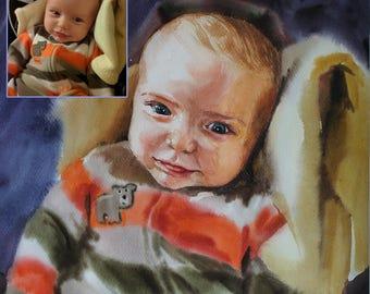 baby portrait kids portrait Child Portrait Custom Portrait Painting watercolor Painting Family Wedding Portrait From Photo