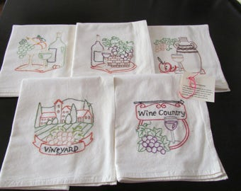 Hand Embroidered Wine Tea Towels