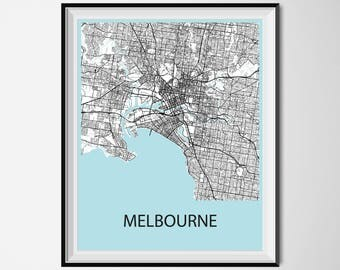 Melbourne Map Poster Print - Black and White