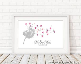 "wedding fingerprint tree guestbook wedding confirmation ""Pusteblume"" 30x40cm"