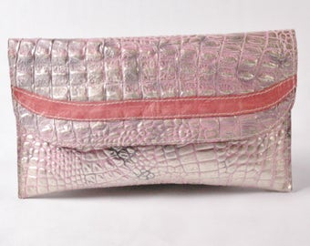 Cotton Candy Clutch Handbag/Pink and Silver