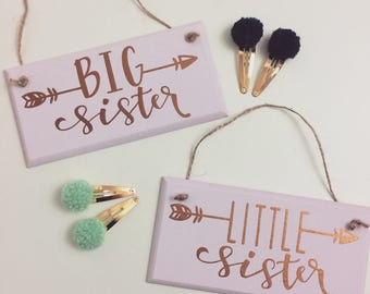 Big Sister and Little Sister Wooden Plaques (1 per order)