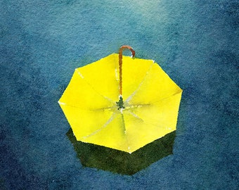 Yellow Umbrella Original Watercolour Painting Q187