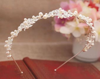 Pearl and crystal bridal headband
