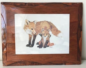 Vintage Fox Art - Signed Art - Fox Wall Hanging - Woodland Decor - Linda K Powell Print