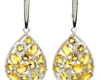 SALE Citrine & White Sapphire Drop Earrings, 925 Silver w/Platinum, Free Shipping.