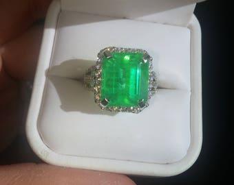 SALE 8ct Created Green Columbian Emerald Ring, 925, Free Shipping.