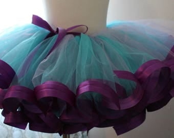 dress up purple and teal tutu satin trimmed