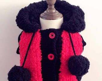Crochet Lady Bug Hooded Vest