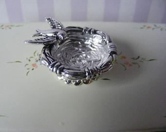 1/12 Silver Colour Ornamental Bird Bowl