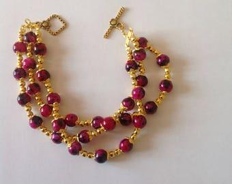 Pink 3 strand bracelet pink bracelet beaded bracelet handmade bracelet