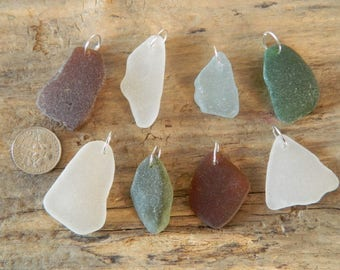 8 Drilled Sea Glass pendant Pieces With 10 mm Jump Rings