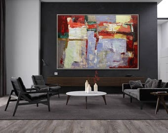 "Abstract Art Red Large Wall Art Wall Decor Art Modern Home Decor Huge Painting 40x60"" / 100x150cm"